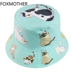 FOXMOTHER New Cute Double-side Animal Print Fisherman Panama Caps Sun Bob Chapeau Cat Bucket Hats For Women Ladies Mother Gifts