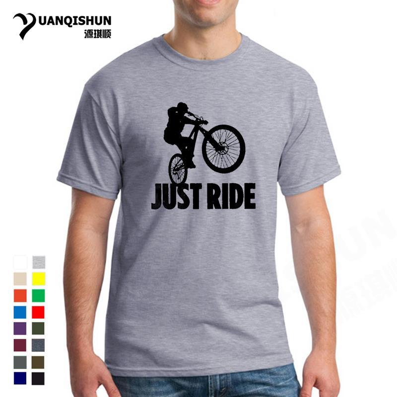 Just Ride MTB Mountain Biking T Shirt 16 Colors Cotton Men Vintage Short Sleeve Clothes Round Neck Printed T-Shirt Plus Size