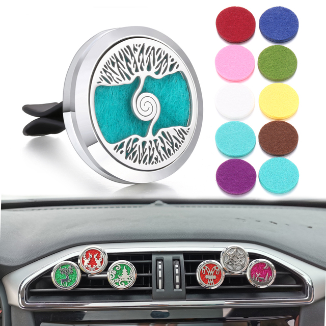 Aromatherapy Jewelry Car Perfume Diffuser Clip 30mm Flower Tree of Life Perfume Essential Oil Diffuser Locket Pendant Necklace