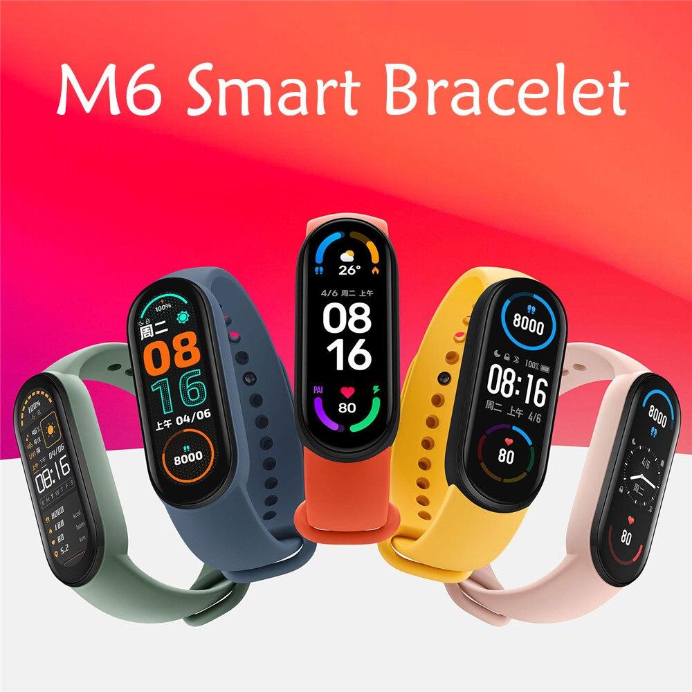 2021 Новый M6 Смарт-часы-браслет фитнес трекер сердечный ритм измерять кровяное Давление монитор Цвет Экран IP67 Водонепроницаемый для Мобильны...