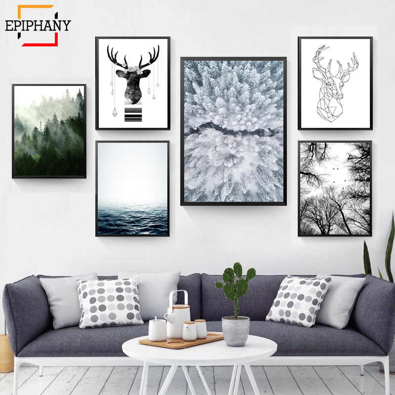 Scandinavian Forest Canvas Poster Nature Ocean Nordic Landscape Wall Art Print Painting Decorative Picture Living Room Decor