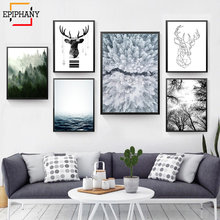 Scandinavian Forest Canvas Poster Nature Ocean Nordic Landscape Wall Art Print Painting Decorative Picture Living Room Decor(China)