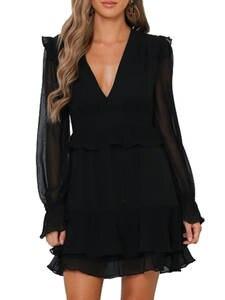 DICLOUD Chiffon Dress Christmas-Clothing Long-Sleeve Ruffle Black Elegant Sexy v-Neck