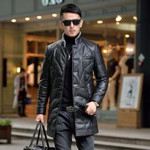 2020 new leather down male Long Windbreaker Slim Korean Coat stand collar Business casual Winter jacket for men tide cheap 1824 Single Breasted Full Spliced Pockets Thick (Winter) Batik Acetate White duck down NONE Polyester 200g-250g Solid