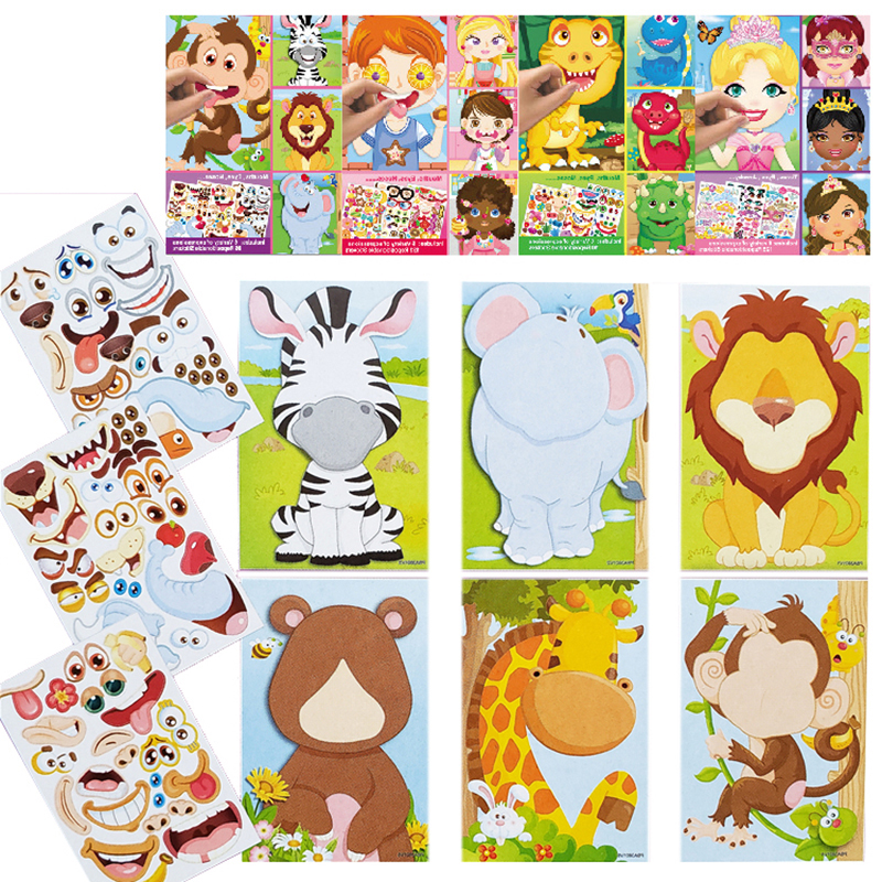 Kids Diy Stickers Puzzle Games Make A Face Princess Animal Dinosaur Assemble Jigsaw Baby Recognition Training Education Toys Stickers Aliexpress