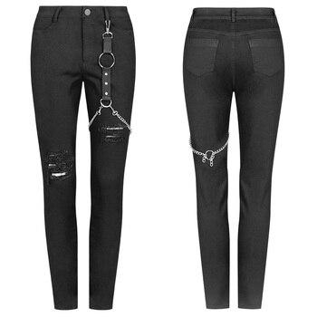 Pantalones vaqueros PUNK RAVE Punk de Metal para mujer, pantalones pitillo con agujero roto y personalidad antigua, ropa de calle, vaqueros para chica