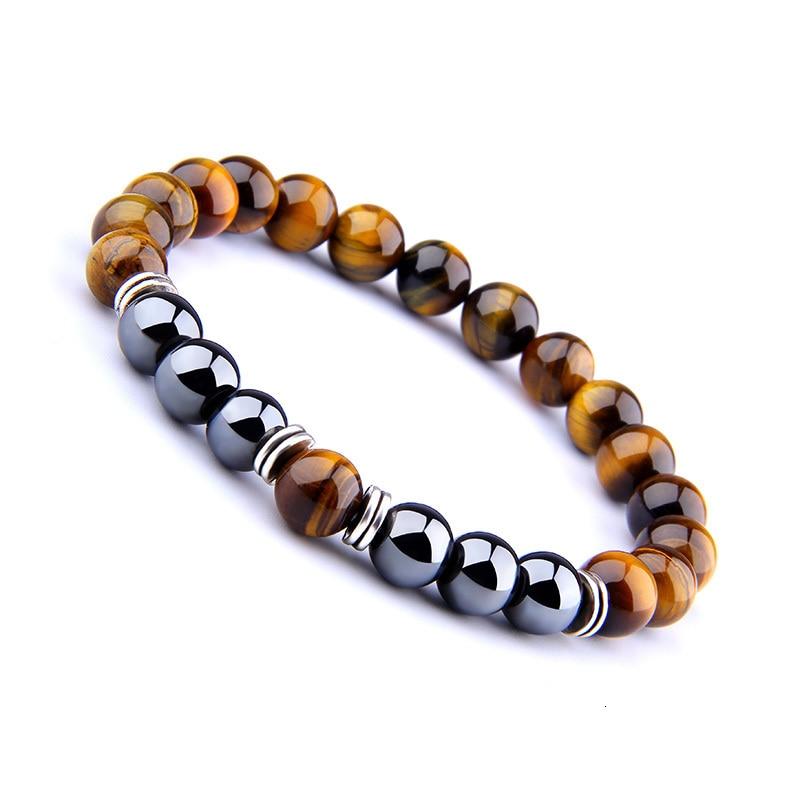H41a78d11f6c34338965f9e8a9d087299o - Natural Tiger Eye Beads Bracelet For Women Health Care Hematite Stretch Bracelets Men charm Fashion Jewelry Pulsera Hombre gift (Tiger eye)