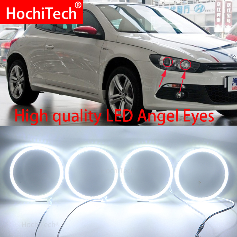 For Volkswagen VW Scirocco With Projector Super Bright White Color 3528 SMD Led Angel Eyes Kit Daytime Running Light DRL