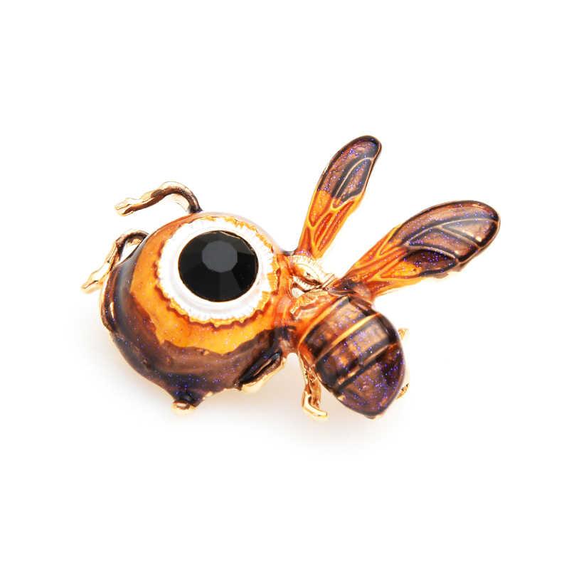 Wuli Bayi Cute Big Eye Lebah Bros Wanita Paduan Coklat Enamel Serangga Bros Pin Hadiah