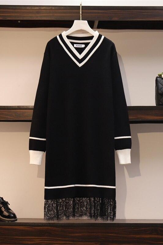 Patchwork Lace Sweater Dresses Women's Long Sleeve V Neck Mini Straight Ladies High Street Autumn Knitting Dresses Plus Size 5