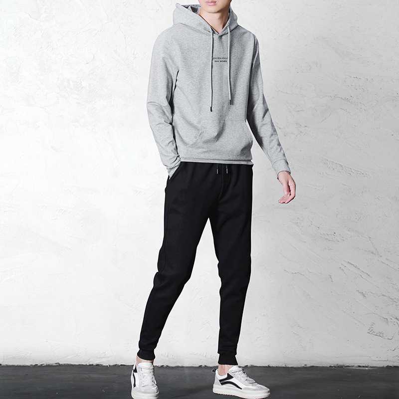 2019 New Style MEN'S Casual Suit Hoodie Men's Ankle Banded Pants Fashion And Personality Printed Wear-resistant Plastic Mao Shen