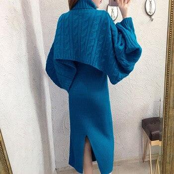 Sweater Set 2020 Women 2 Piece Sets Long Split Knit Sweater Dress + Bat Sleeve Turtleneck Sweater Two Piece Set Ensemble Femme
