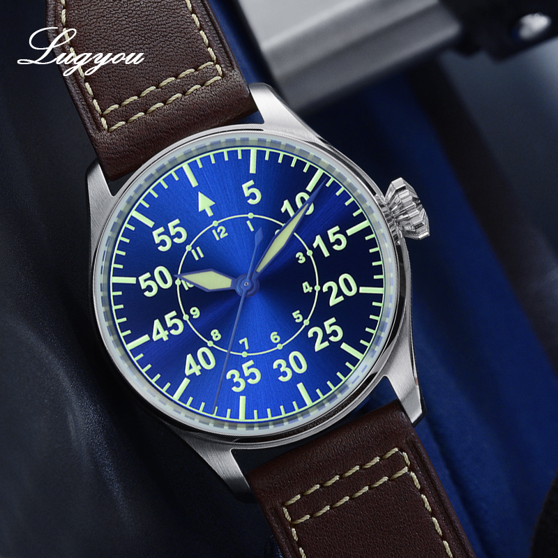 Image 4 - Lugyou San Martin Mechanical Pilot Flieger Men Watch Stainless steel Skeleton Back Waterproof Blue Hands Super Luminous LeatherMechanical Watches   -