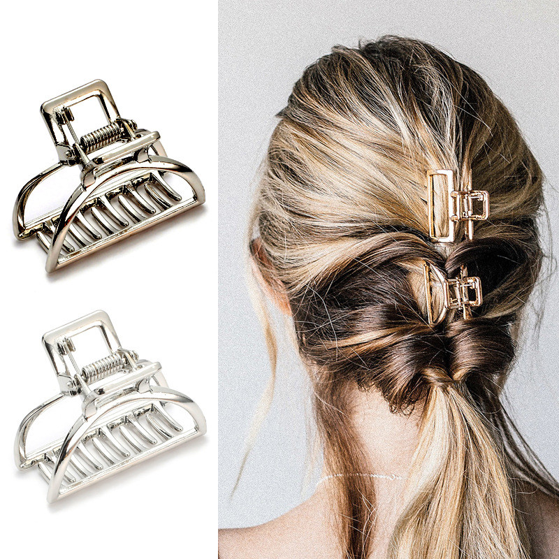 Women Geometric Hair Claw Solid Color Hair Crab Retro Moon Shape Pearl Hair Clips Make UP Hair Accessories Small Size Hairpin