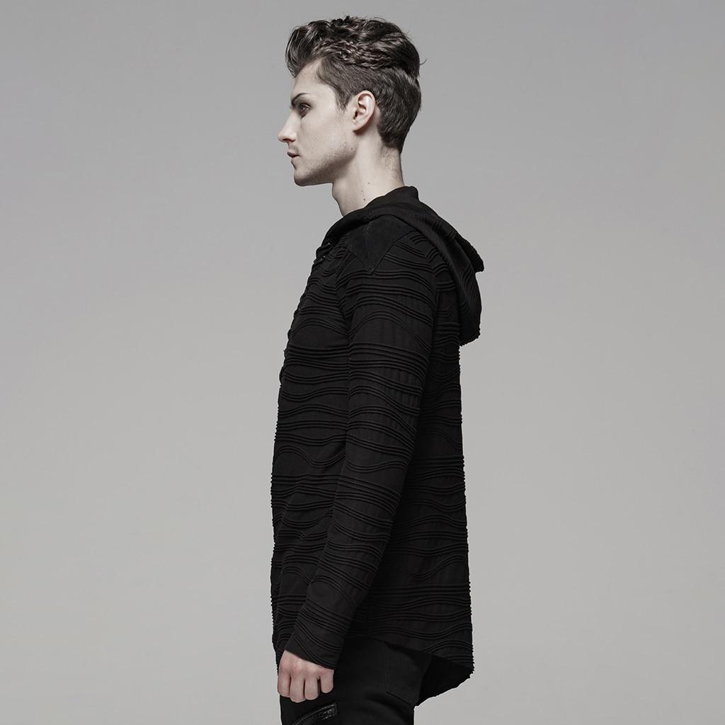 PUNK RAVE männer Dark Unregelmäßigen Streifen Gestrickte Samt T Unregelmäßigen Shirt Hoodies Rock Persönlichkeit Männer Tops Streetwear Männer Hemd - 2