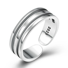 925 Sterling Silver Women Adjustable Tail Ring Creative hollow Multilayer Opening Ring Jewelry chic hollow out letter opening ring for women