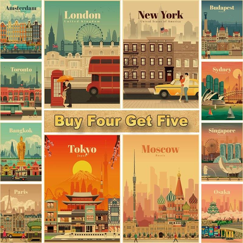 Dünya seyahat Minimalist Vintage posterler New York şehir posteri Kraft kağıt baskı duvar sanat dekorasyon resim ev Bar Cafe dekor