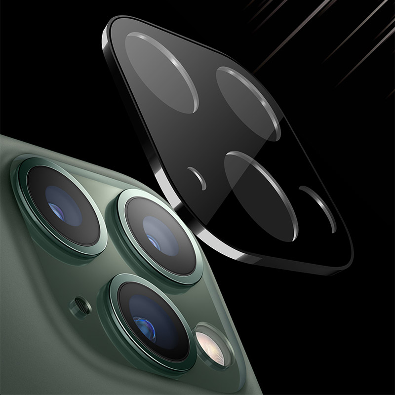 For IPhone 11 Pro Max Rear Camera Lens Protector Tempered Glass With Metal Frame Ring Back Camera Lens Screen Protector Parts