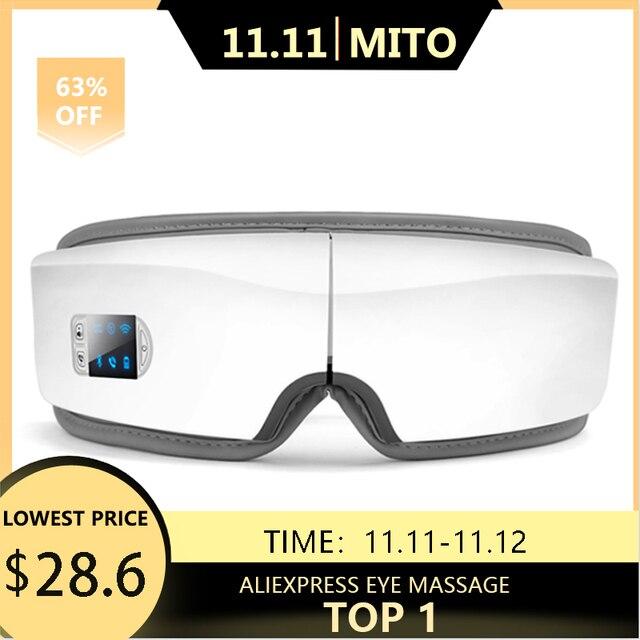 4d inteligente airbag vibração olho massageador instrumento de cuidados com os olhos compressa quente bluetooth olho fadiga massagem óculosMassagem olho Instrumento