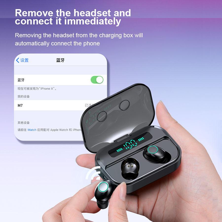 Para o iphone sem fio bluetooth fones de ouvido m7 tws verdadeiro headfrees sem fio à prova dwaterproof água com banco potência fone de ouvido