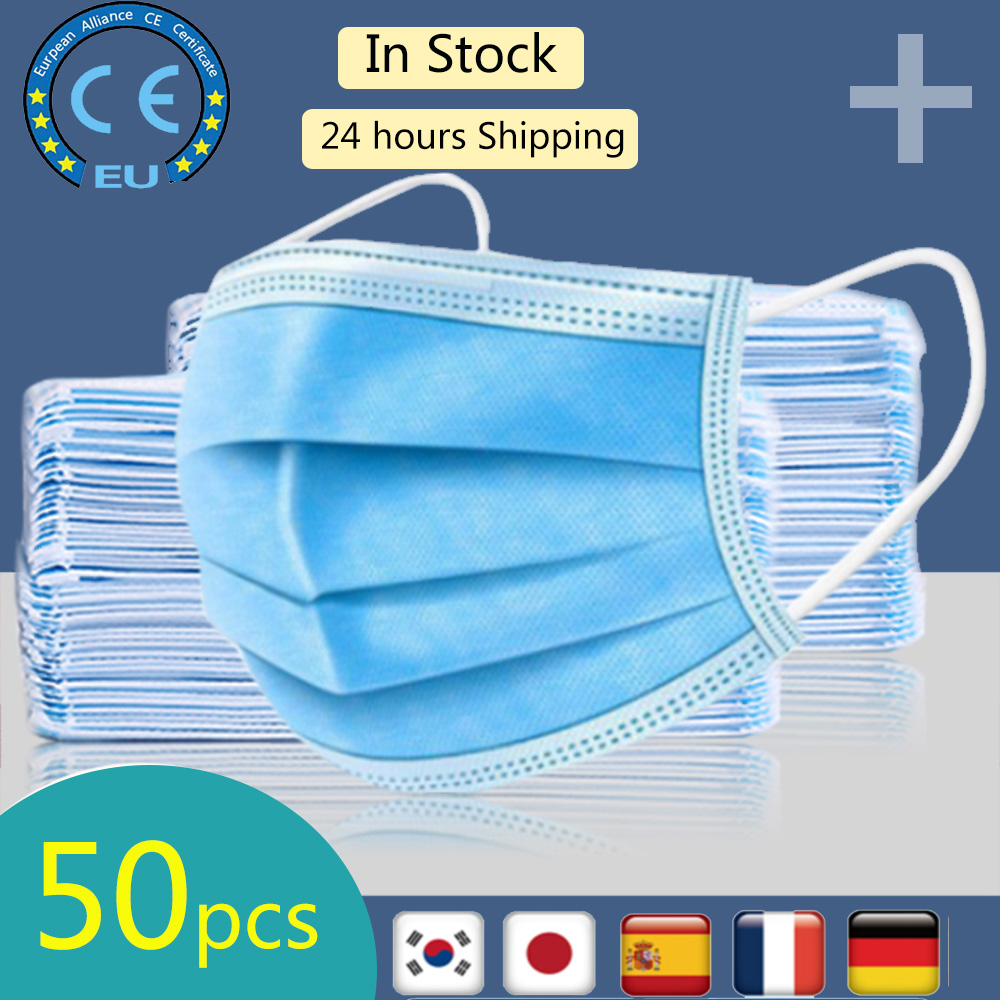 50Pcs 3 Layer Disposable Protective Face Mouth Masks Anti PM2.5 Influenza Bacterial Facial Dust-Proof Safety Masks With CE