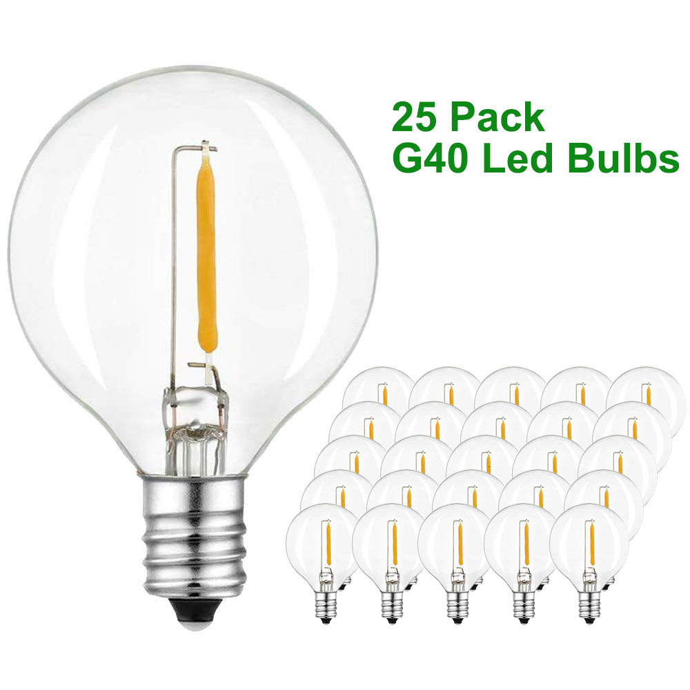 Binval 5W LED Clear Light Bulbs For G40 Replacement E12 Base Socket LED Globe Light Bulbs For Outdoor Patio Garden String Lights
