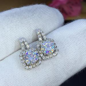 Image 1 - earrings set Moissanite Cut Total 1.00ct retro earings fashion jewelry 2020 aesthetic Moissanite earrings for women