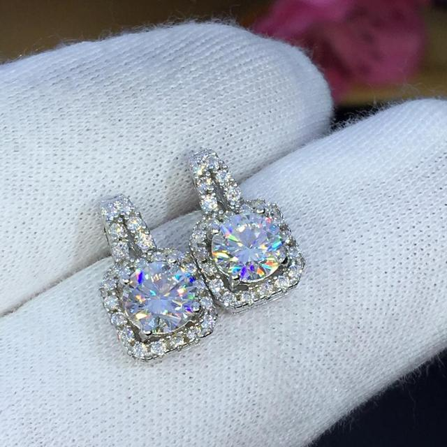 earrings set Moissanite Cut Total 1.00ct retro earings fashion jewelry 2020 aesthetic Moissanite earrings for women