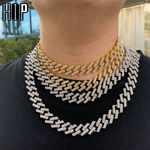 Hip Hop 15MM Bling Iced Out Miami Zircon Cuban Full Pave Rhinestone Men's Necklace Gold Necklaces For Men Jewelry