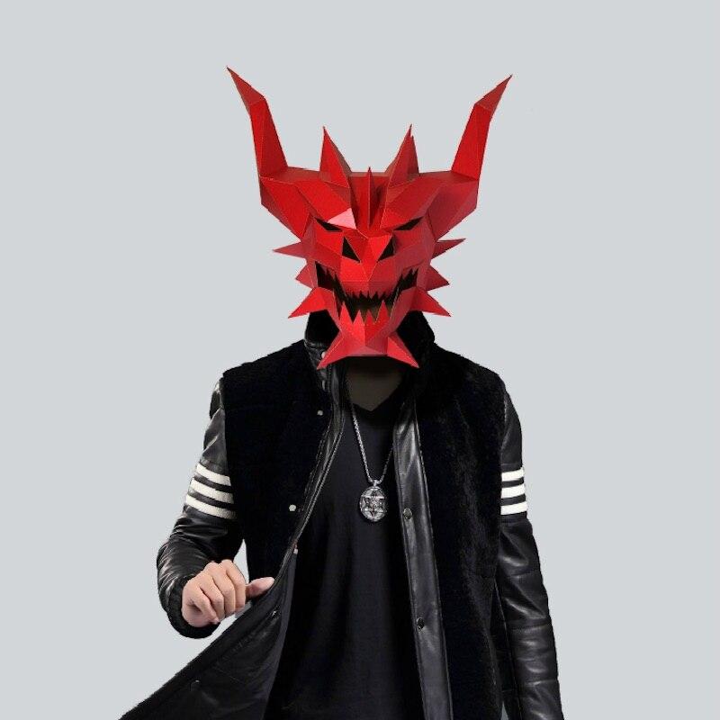 Papier Masque 3d Rouge Diable Fantôme Monstre Déguisement Cosplay Papier Kraft Pour Travaux Pratiques Modèle Masque Noël Halloween Bal De Promo Cadeau