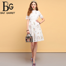 Baogarret Fashion Designer Summer Casual Dress Womens Hollow Out Ruffles Floral Embroidery Elegant Ladies Short Dresses