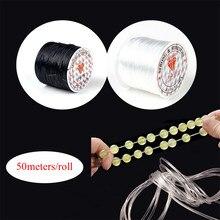 50 metros/rolo 0.7mm de largura forte elástico cristal beading cabo para pulseiras stretch thread string colar cabos linha jóias diy
