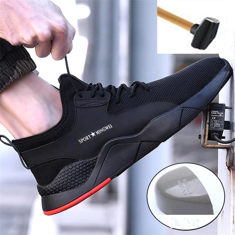 Zapatos de seguridad para trabajo con punta de acero para hombre, zapatillas de deporte transpirables para exteriores, botas a prueba de perforaciones, cómodos zapatos industriales para hombres