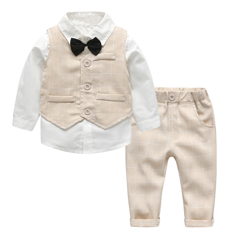 Popodion  Baby Clothes 2021 Children's Clothing Autumn New Boy Three-Piece Suit Of Olaid Vest Children's Clothes CHD20442