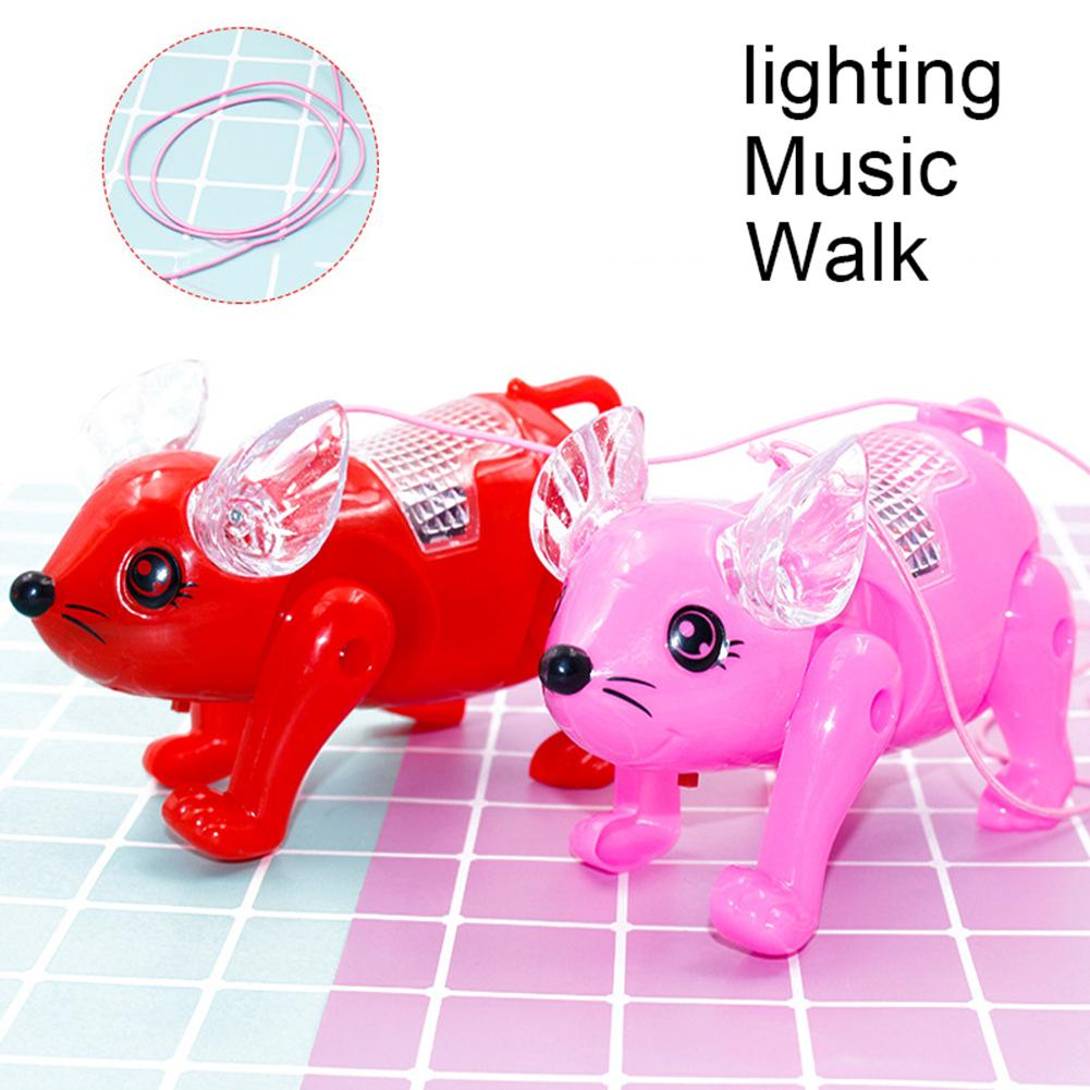 Cute Electric LED Music Walking Pig Animal With Leash Interactive Kids Toy Gift