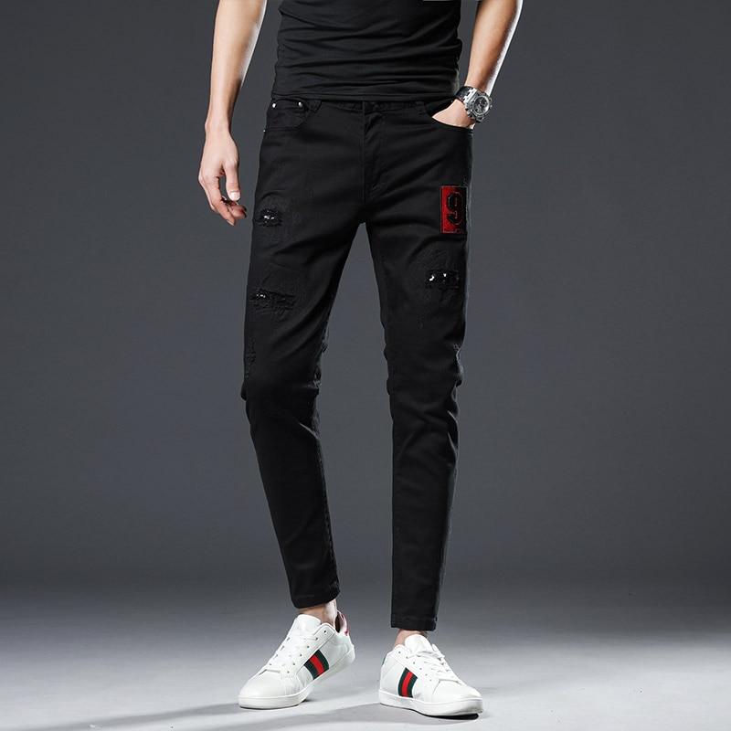 Pants Jeans Black New Fashion Embroidered Men Denim Pencil Ankle-length Slim Moto & Biker Stretch High-grade