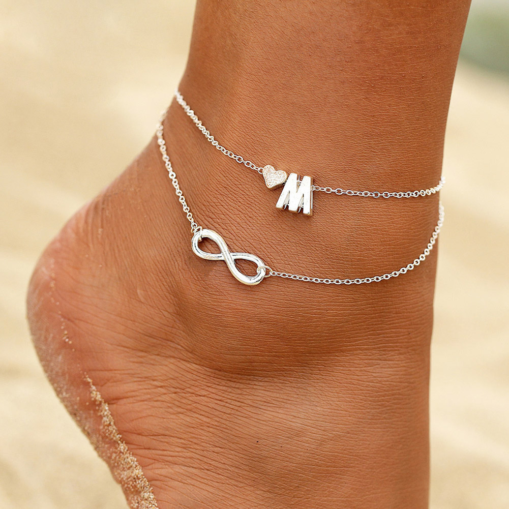 Vintage Silver Heart Anklet Bohemian Letter Ankle Bracelet for Women Multilayer Infinity Barefoot Sandals Foot Jewelry Leg Chain