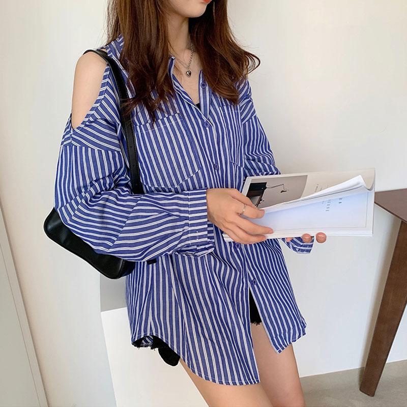 Early Autumn Fashion Lace-up Blue Striped Shirt Female Long-sleeved Off the Shoulder Long Shirt Dress Women Blouse Shirt
