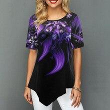 Новая летняя женская рубашка с принтом, топы с круглым вырезом и коротким рукавом, футболка в стиле бохо, 2020, Женская Повседневная Свободная футболка размера плюс