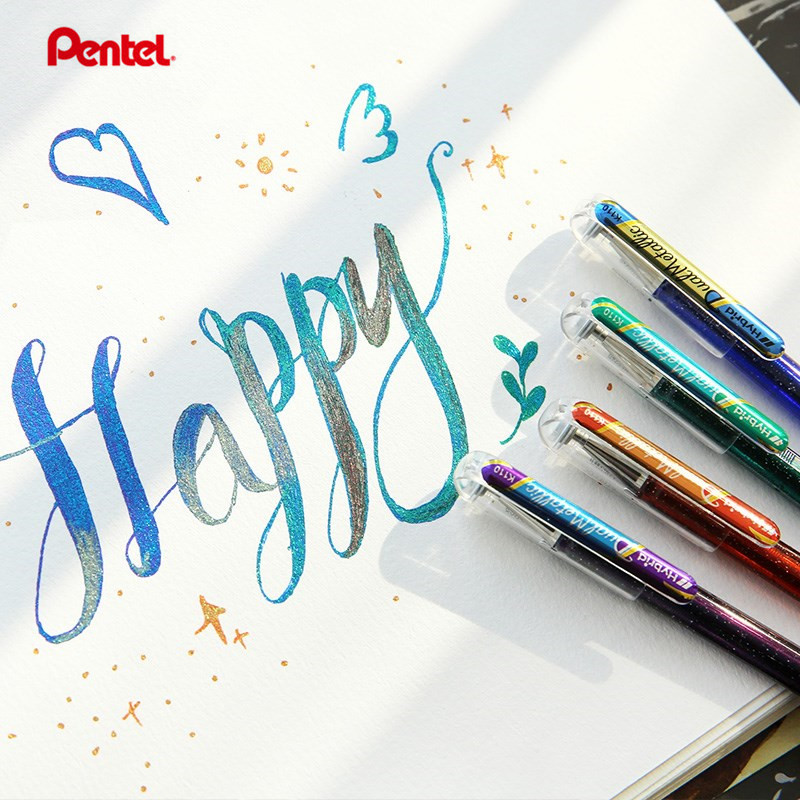 1pc  Pentel K110 Shiny Colour Pen Two-color Mixed Glitter Gel Rollerball 1.0mm Bold Card Decorative Painting Design Art Supplies