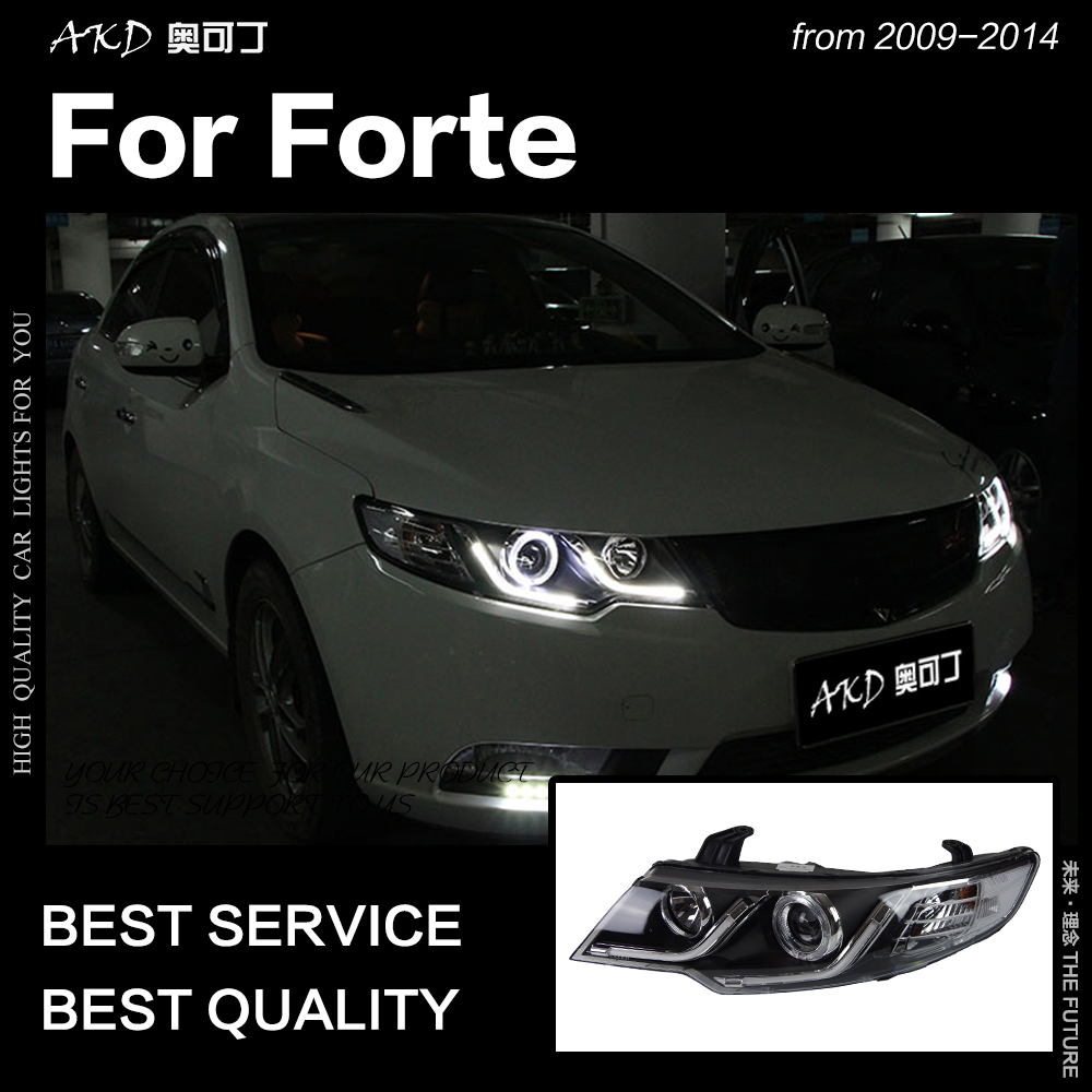 AKD Car Styling Head Lamp for Kia Forte Headlights 2009-2015 Forte Coupe LED Headlight LED DRL Hid Bi Xenon Auto Accessories(China)
