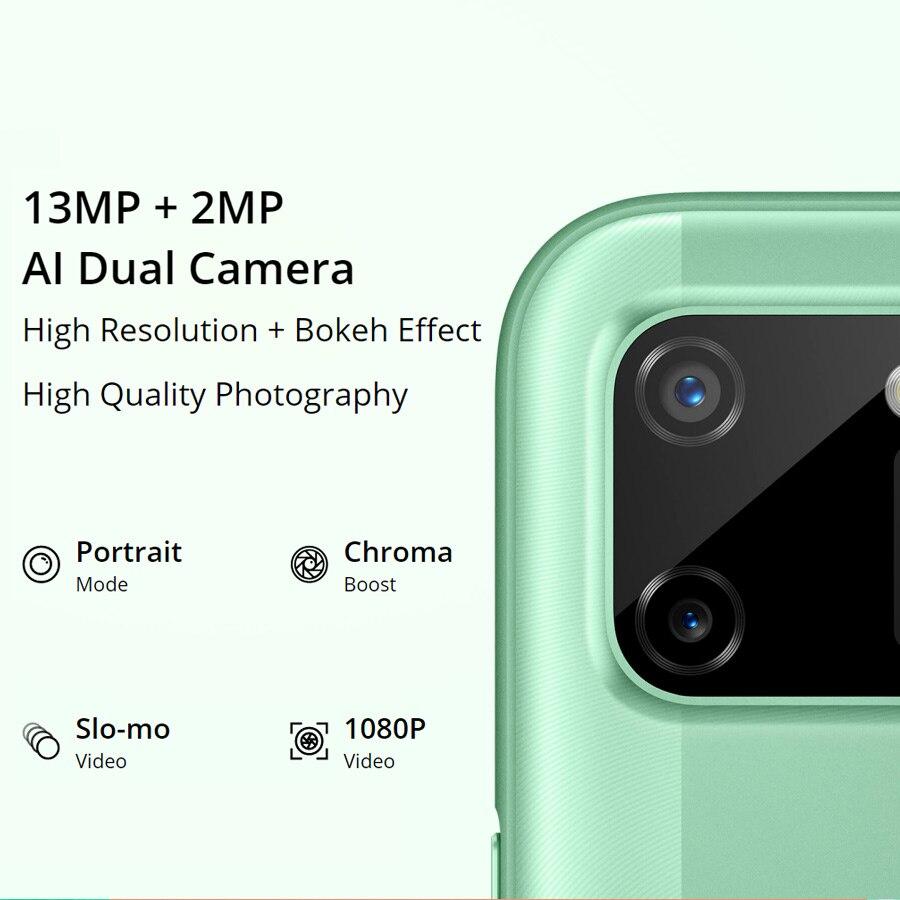 realme C11 6.5'' Global Version 2GB RAM 32GB ROM Helio G35 5V/2A charger 5000mAh 13MP AI Dual Camera Octa Core 4G Mobile Phone