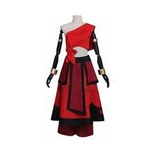 Cosdaddy katara cosplay traje vermelho batalha terno conjunto completo