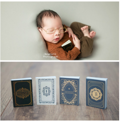 4 Pcs Newborn Photography Props Retro Mini Books Baby Shoot Accessories Photo Studio Creative Props Infant Photo Decorations