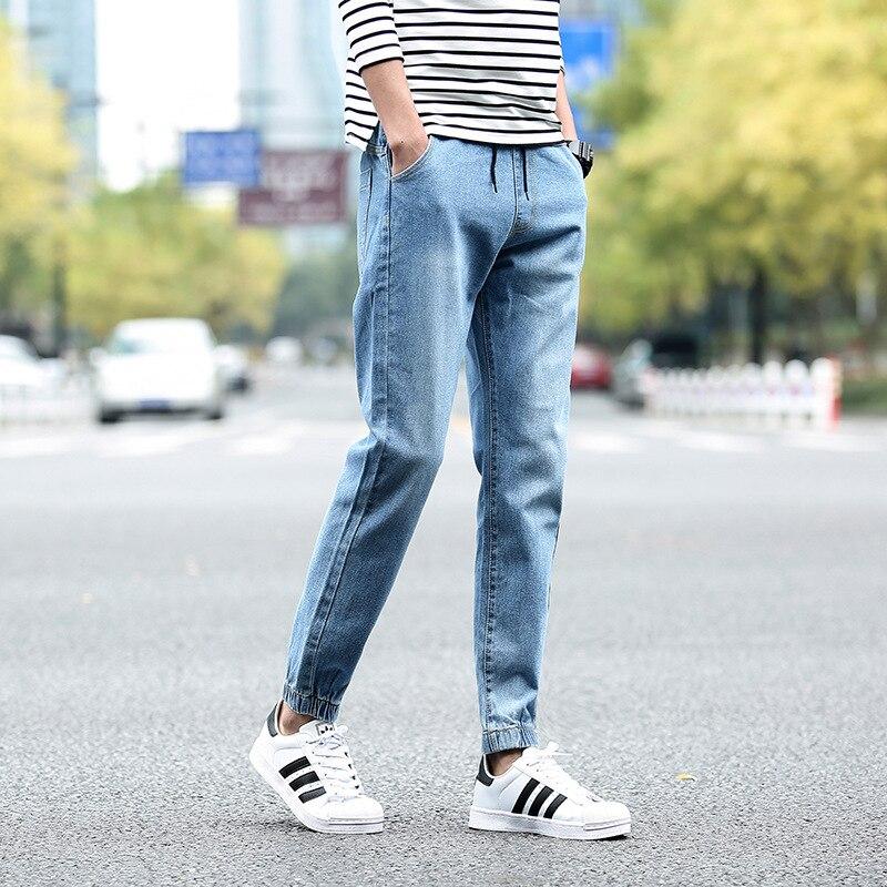New Style MEN'S Jeans Korean-style Loose-Fit Youth Elastic Pants Capri Pants Ankle Banded Pants Students Lace-up 9 Pants Men's
