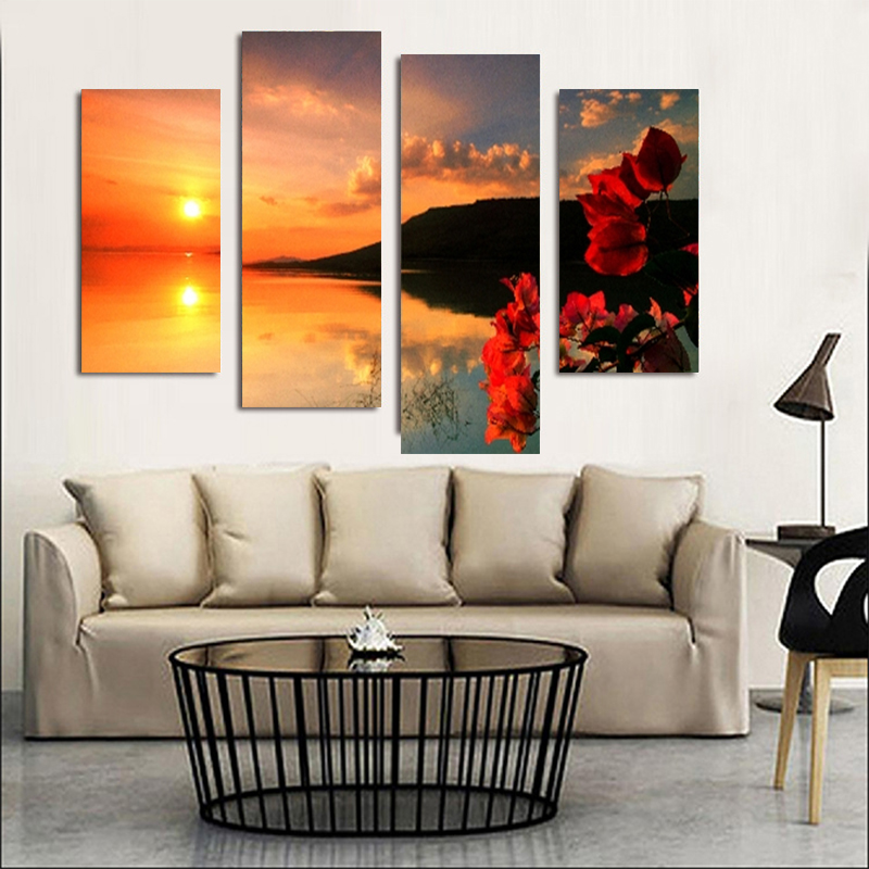 4PCS HD Printing Flowers and Sunset Lakeside Art Painting Posters Modern Living Room Home Decoration Accessories Without Frame