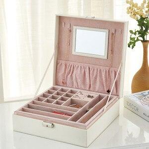 Image 4 - Шкатулка для ювелирных украшений с зеркалом, модный двухслойный чехол для драгоценностей, кожаный держатель для колец с крокодиловым узором