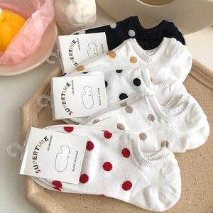 Image 1 - 5Pais/Lot Women Socks Short Cotton Aesthetic Novelty Dot Sweet Boat Socks Chaussette Femme Skarpety Kobieta Ankle Sock Woman