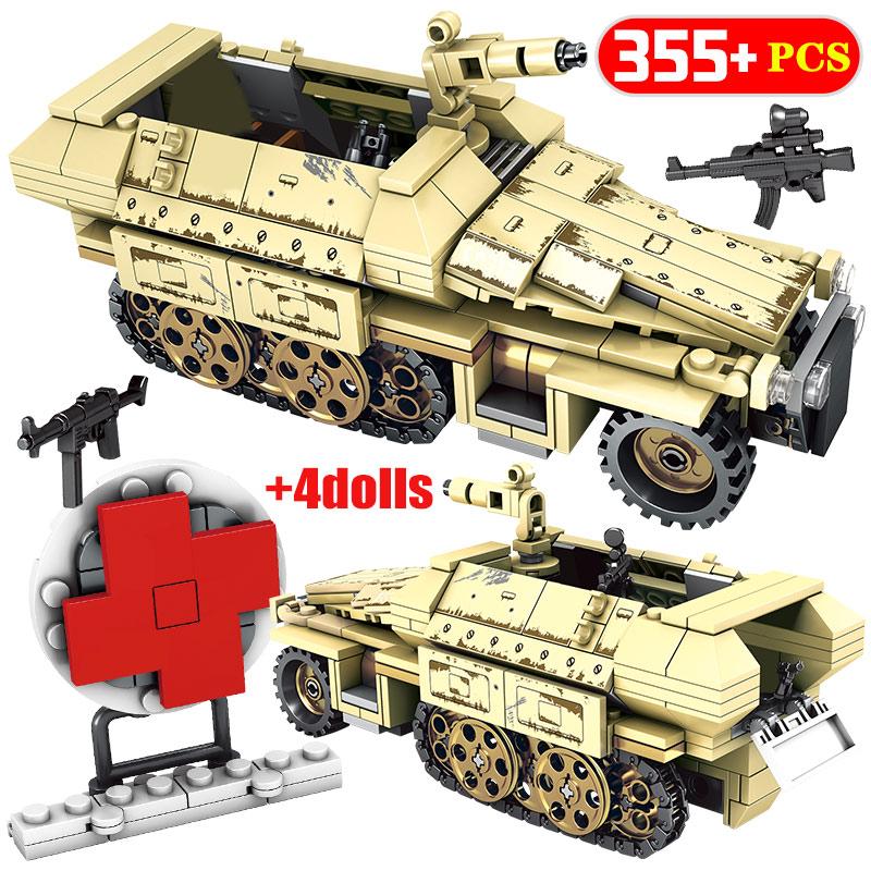 City Military Diy German Armored Car Bricks WW2 Empires Of Steel Assault Trucks Building Blocks Toys For Children