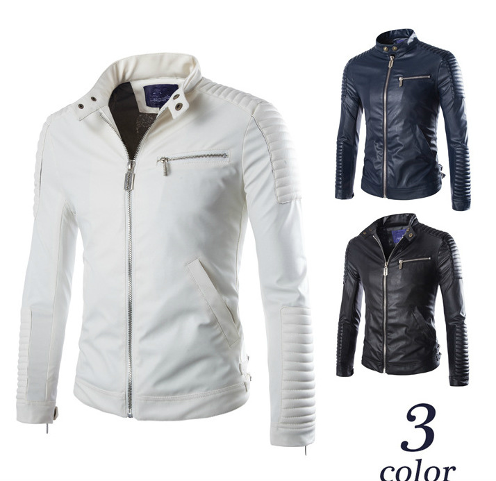 Mens Elbow Support Faux Leather Jacket Motorcycle Boys Pu Leather Stand Collar Biker Jacket Oversize White Long Sleeve Coat Male